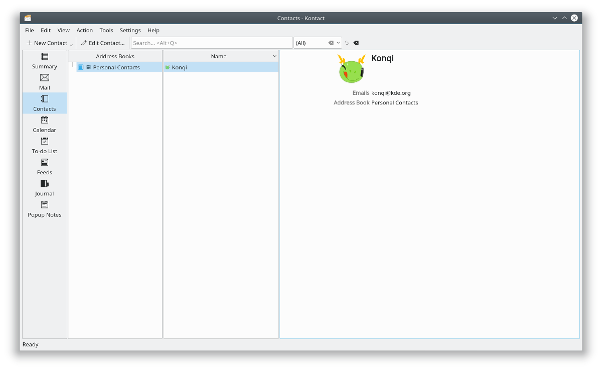 KAdressBook intégré au sein de Kontact